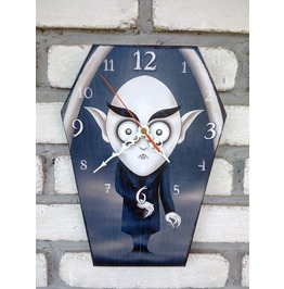 Wooden Coffin Shaped Wall Clock Nosferatu Inspiration. Handmade Clock.