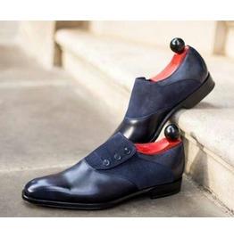Handmade Men Formal Shoes, Men Two Tone Shoes, Blue And Black Button Shoes