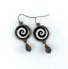 Black And White Emo Spiral Earrings
