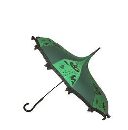 Never Grow Up Fairy Tale Themed Umbrella / Parasol Green & Black W/Bk Lace
