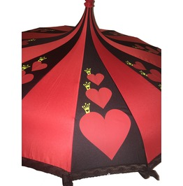 Card Queen Fairy Tale Themed Umbrella / Parasol Red & Black Pagoda Shaped