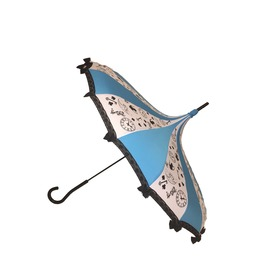 Curious Girl Fairy Tale Themed Umbrella/Parasol Pagoda Shaped Blue & White