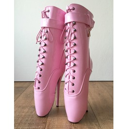 18cm Babe Pink Shiny Patent Fetish Pinup Cosplay Calf Hi Ballet Show Boots