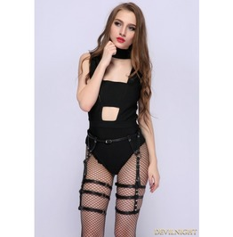 Black Gothic Leather Belt Harness Thigh Sock Garter J311 F