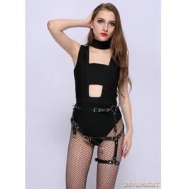 Black Gothic Leather Waist Belt Harness Thigh Sock Garter J312 F