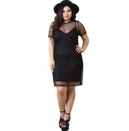 Polka Dot Mesh See Through Sheath Black Plus Size Women Dress
