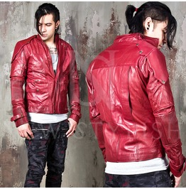 Futuristic Multiple Accent Maroon Red Leather Jacket 101