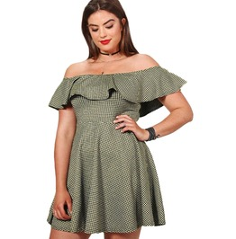 Plaid Ruffles Off The Shoulder Empire Waist Summer Mini Dress Plus Size