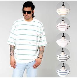 Striped Basic Round Loose Short Sleeves Shirts 759