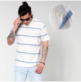Laurel Knot Striped Basic Round T Shirts 760