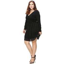 Solid Lace V Neck Long Sleeve Plus Size Dress Women