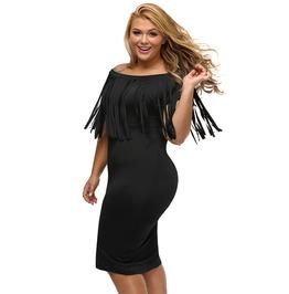 Plus Size Women Slash Neck Tassels Short Sleeve Pencil Dress