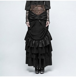 Punk Rave Women's Steampunk Multilayer Forked Tail Maxi Skirts Q329