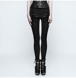 Punk Rave Women's Gothic Floral Lace Up Slim Fitted Leggings K294