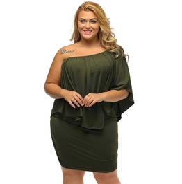 Off The Shoulder Multi Wear Layered Plus Size Mini Dress