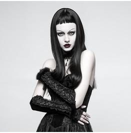 Punk Rave Women's Gothic Lace Fur Velvet Long Arm Warmer Gloves S227