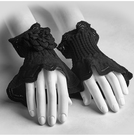 Punk Rave Women's Lolita Flower Crocheted Arm Warmer Gloves Ls047