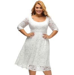 Floral Lace Fit And Flare Plus Size Women Curvy Dress