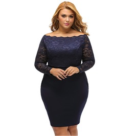 Lace Long Sleeve Off Shoulder Bodycon Plus Size Women Autumn Dress