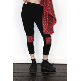 Pretty Disturbia Black Tartan Panelled Punk Grunge Leggings