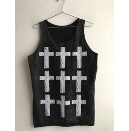 Row Of Crosses Pop Art Stone Washed Punk Rock Unisex Tank Top Vest M