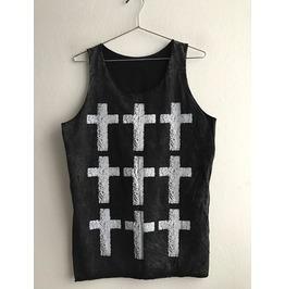Row Of Crosses Pop Art Stone Washed Punk Rock Unisex Tank Top Vest M