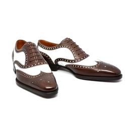 Handmade Men Spectator Shoes, Men Brown And White Formal Dress Shoes