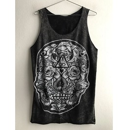 Skull Punk Rock Goth Stone Wash Vest Tank Top M