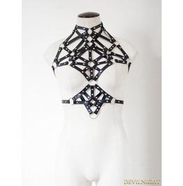 Black Gothic Punk Pentagram Leather Suspender Harness Jk2170