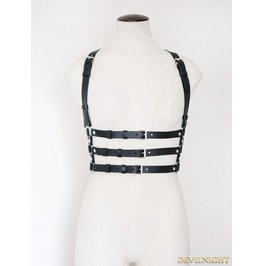 Unisex Black Suspenders Belts Leather Body Bondage Harness Jk2169 Bk