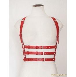 Red Suspenders Belts Leather Body Bondage Harness Jk2169 Rd