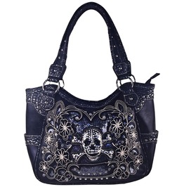 Black Flower Rhinestone Skull Leatherette Look Shoulder Handbag