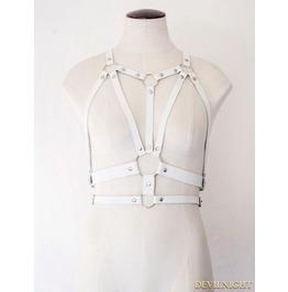 White Gothic Leather Body Bondage Belt Harness Jk2166