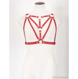 Red Gothic Leather Body Harness Bondage Belt Harness Jk2165