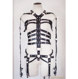 Black Gothic Punk Leather Ring Body Bondage Belt Harness Jk2159