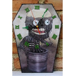 Tarman Handmade Clock. Wooden Coffin Shaped Wall Clock