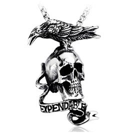 Men's Gothic Crow Skull Pendant Titanium Steel Necklace