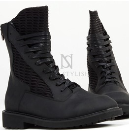 Mesh Contrast Leather High Top Zipper Boots 378
