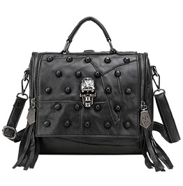 Punk Rock Sheepskin Leather Patchwork Skull Rivet Tassels Shoulder Bag