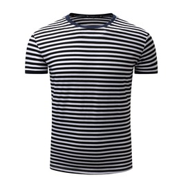 Men's Stripe Printed O Neck T Shirt