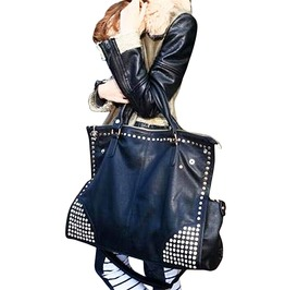Big Capacity Black Pu Leather Punk Rivet Oversize Handbag