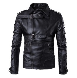 Men's Lace Up Slim Fitted Multi Zipper Faux Leather Motorcycle Jacket