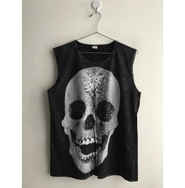 Skull Gothic Punk Rock Stone Wash Vest Tank Top M