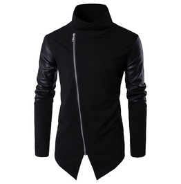 Men's Stand Collar Faux Leather Sleeve Slim Fitted Knitted Jacket