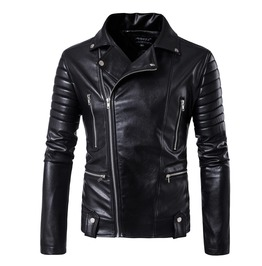 Men's Punk Multi Zipper Ruched Sleeve Faux Leather Jacket