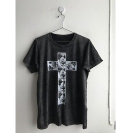 Cross Roses Gothic Fashion Pop Rock Indie Stone Wash T Shirt M