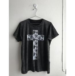 Cross Roses Gothic Fashion Pop Rock Indie Stone Wash T Shirt M