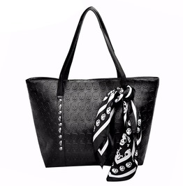 Pu Leather Skulls Solid Punk Large Ladies Tote Bag