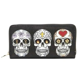 Sugar Skulls Día De Los Muertos Day Of The Dead Zipper Design Women Wallet