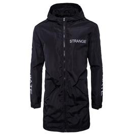 Men's Strange Printed Hooded Waterproof Three Quarter Jacket
